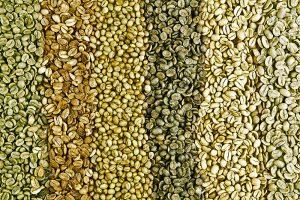 دانه قهوه خام ربوستا و عربیکا